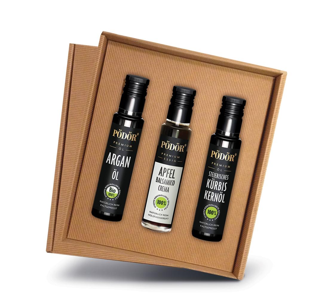 PÖDOR Geschenkbox - das ideale Geschenk für den Gourmet / © Pödör Premium Öle und Essige