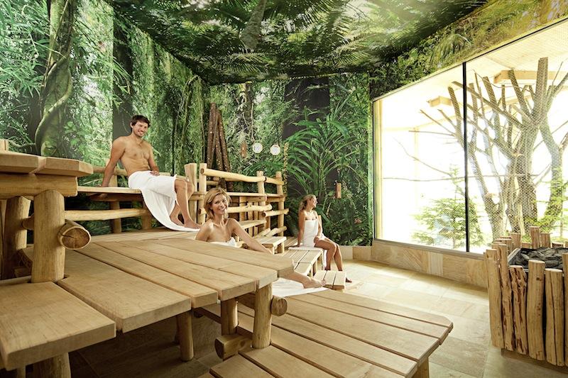 Die Tropen-Sauna: Der Blick fällt auf die Vogelvolière mit tropischen Vögeln / © BADEWELT SINSHEIM GmbH