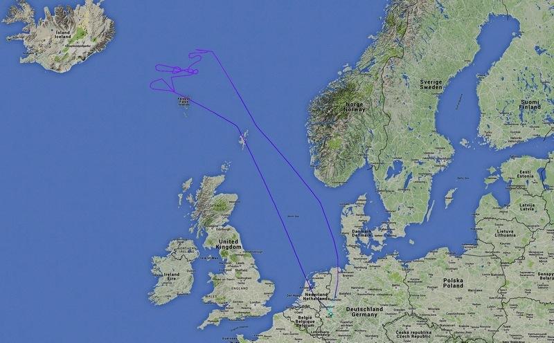 Die ungefähre Flugroute eines Polarlichtfluges / © Eclipse-Reisen