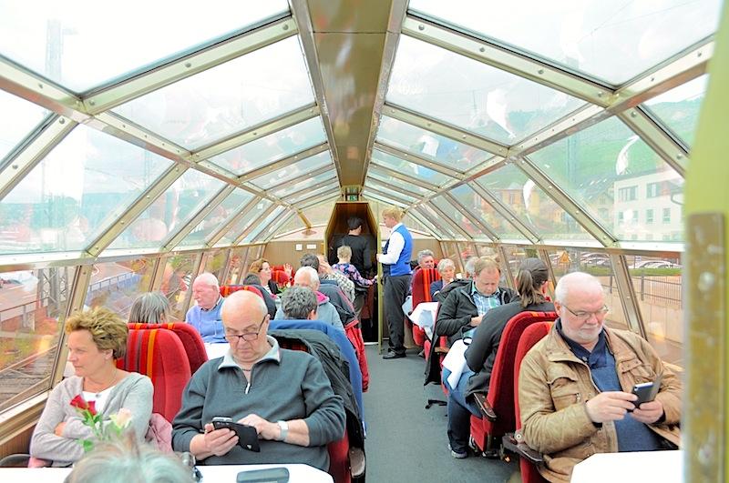Der Aussichtswagen im Rheingold-Express. Rundumblick garantiert - ein schönes Reiseerlebnis / © Redaktion FrontRowSociety.net