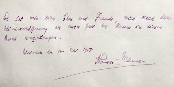 Thomas Mann hat sich als erstes in das Buch vom Hotel Elephant eingetragen.