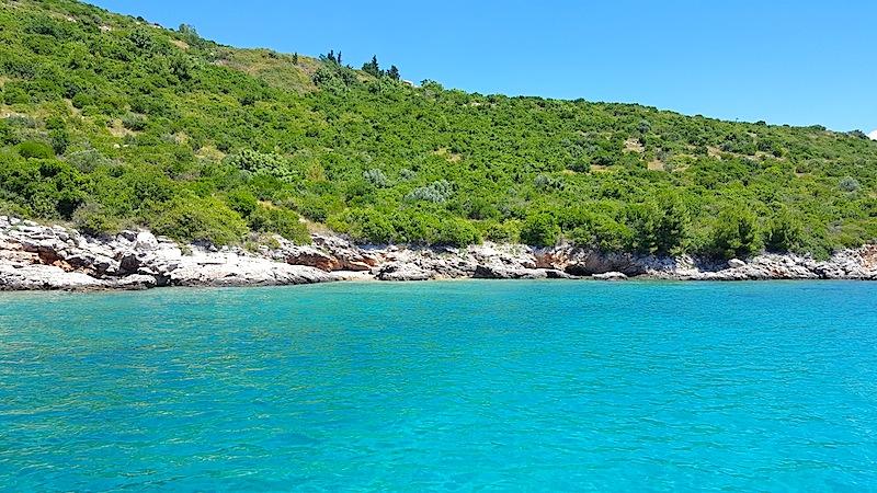 Elafiti Inseln: Türkisblaues Wasser und eine üppig bewachsene Insel. Auch der hellblaue Himmel im Hintergrund gibt sein Bestes / © Redaktion FrontRowSociety.net, Bild Lisa Schmalz