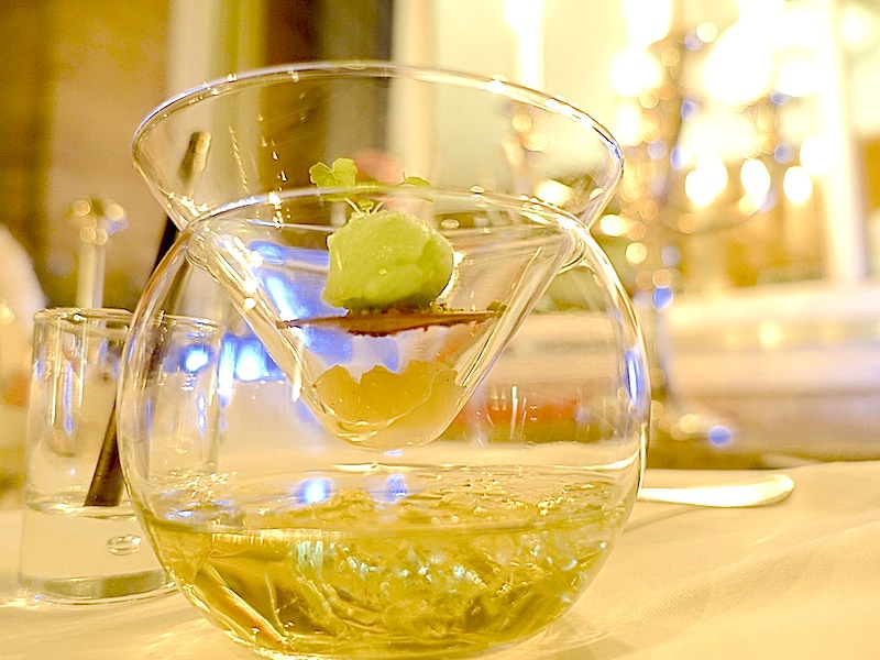 Granny Smith Sorbet, mit mariniertem Granny Smith und einem Granny Smith Cocktail - traumhaft frisch / © Redaktion FrontRowSociety.net