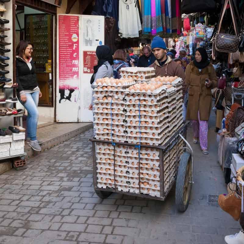 In den engen Gassen von Fes wird nahezu alles transportiert / © FrontRowSociety.net, Foto Georg Berg