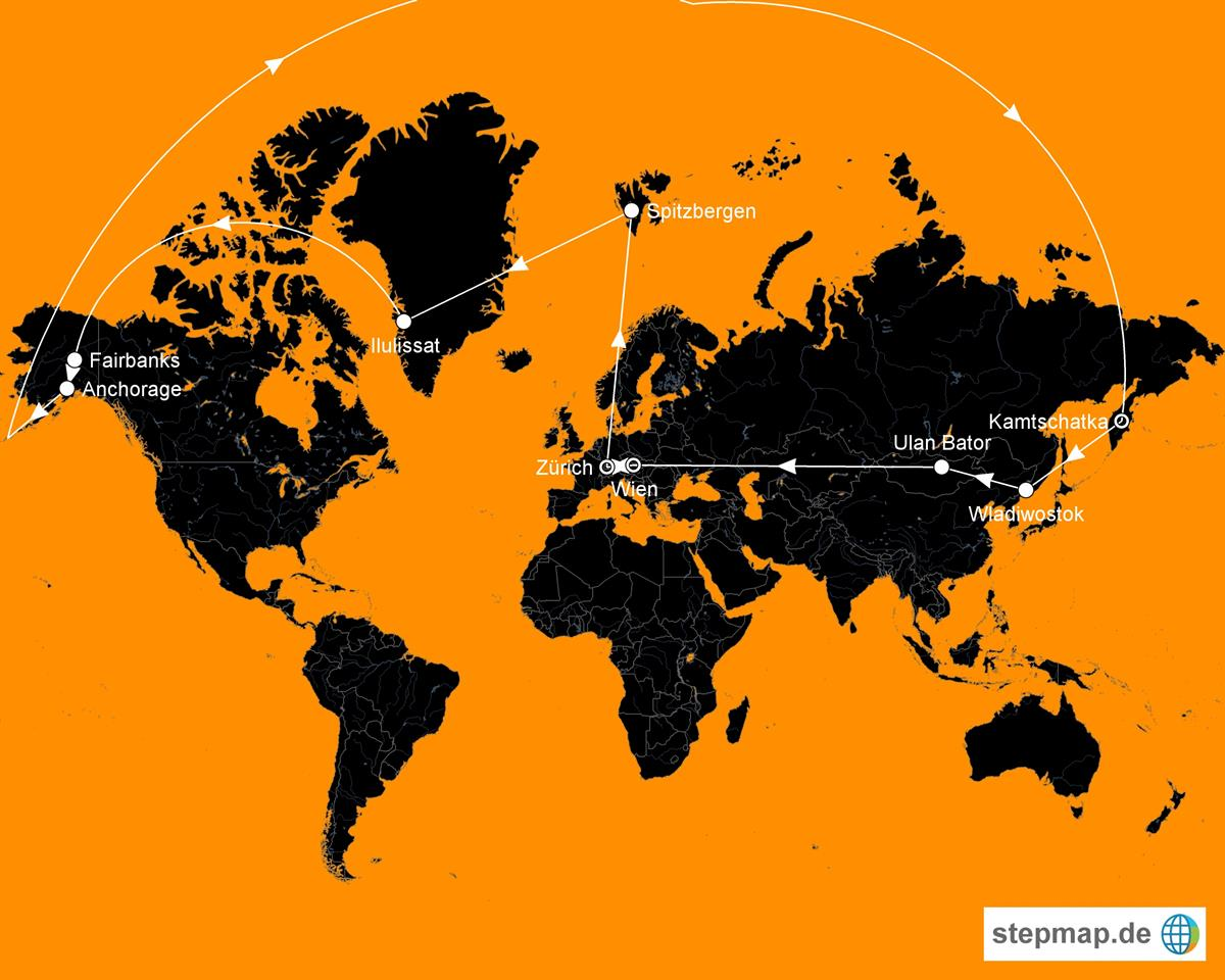 Auf der Karte ist der Kreuzflug zu sehen, welcher von HL Travel Swiss angeboten wird