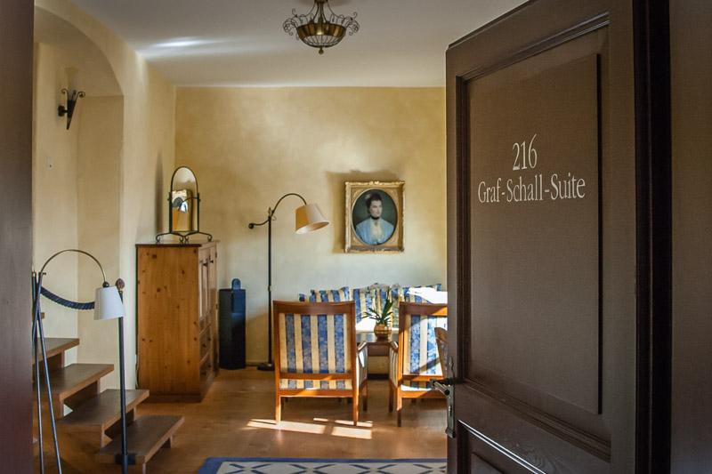 """Die größte Suite des Hauses ist """"Graf Schall"""" im Burgfried"""