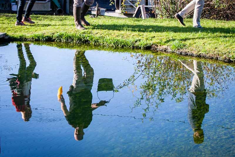 Rundgang über das Gelände. Die Fische in den Außenteichen werden gefüttert