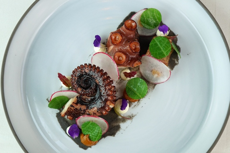 Surf and Turf einmal anders interpretiert: Ibérico Pluma mit Octopus, Mole, Hoja-Santa und schwarzen Bohnen