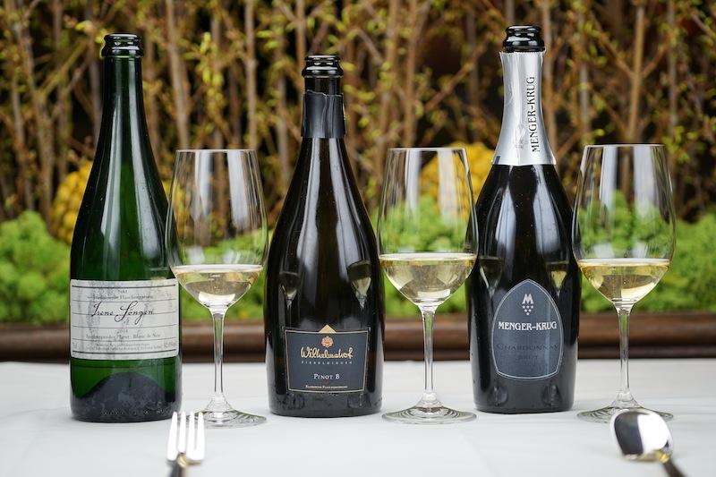Besondere Sekte zum guten Schluss: 2014 Spätburgunder Blanc de Noir Sekt Brut, Weingut Söngen; 2013 Pinot B Brut, Weingut Wilhelmshof und außerdem der Menger-Krug Chardonnay Brut