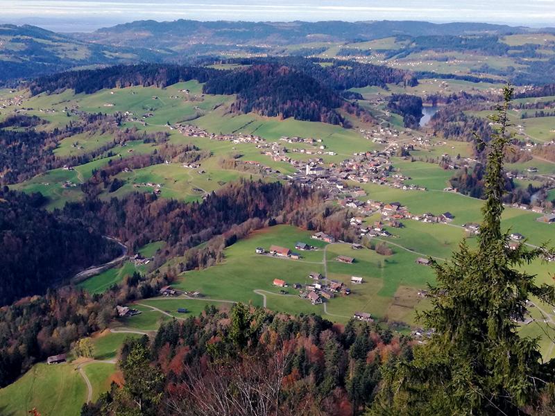 Blick vom Hausberg auf den Ort Hittisau. Wie heißt der Ort? Nur Mut – lassen Sie ruhig die Sau raus – denn so spricht man es wirklich: Hittisau. Der Hittiberg gibt dem Dorf, das in der gleichnamigen Au liegt den Namen