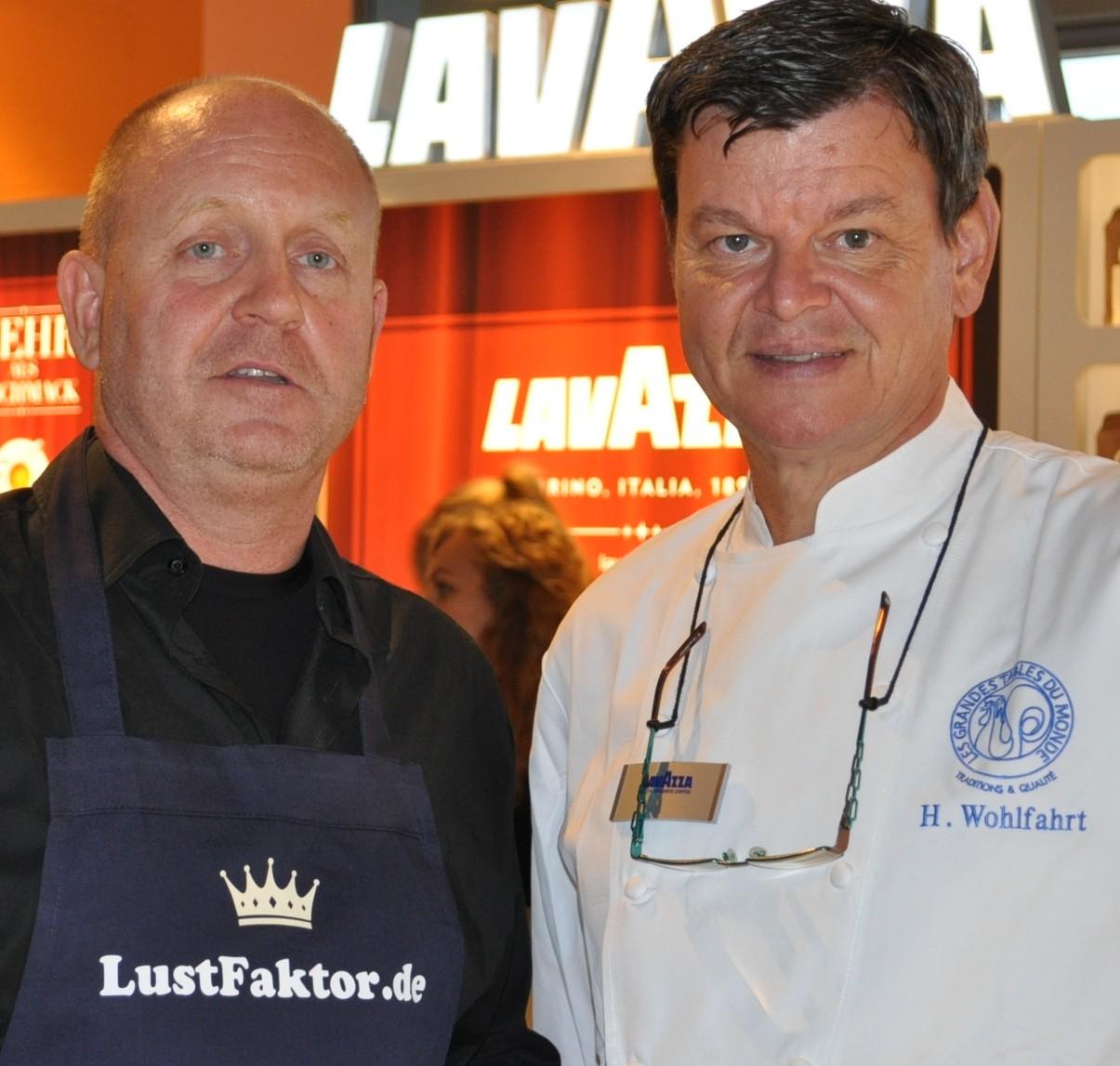 Andreas Conrad von Lustfaktor zusammen mit 3-Sternekoch Harald Wohlfahrt. Bei ihm hat auch Anton Gschwendtner weitere Fachkenntnissse erlangt.