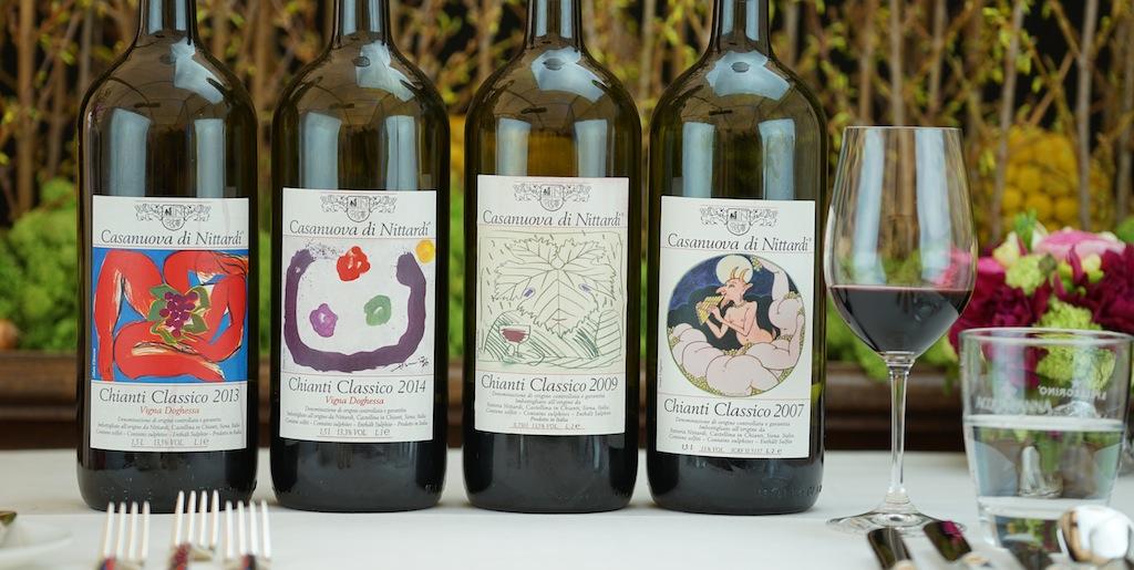 Besondere Chiantis im vornehmen Gewand - jedes Jahr wird das Etikett der Casanuova di Nittardi von einem bekannten Künstler designt