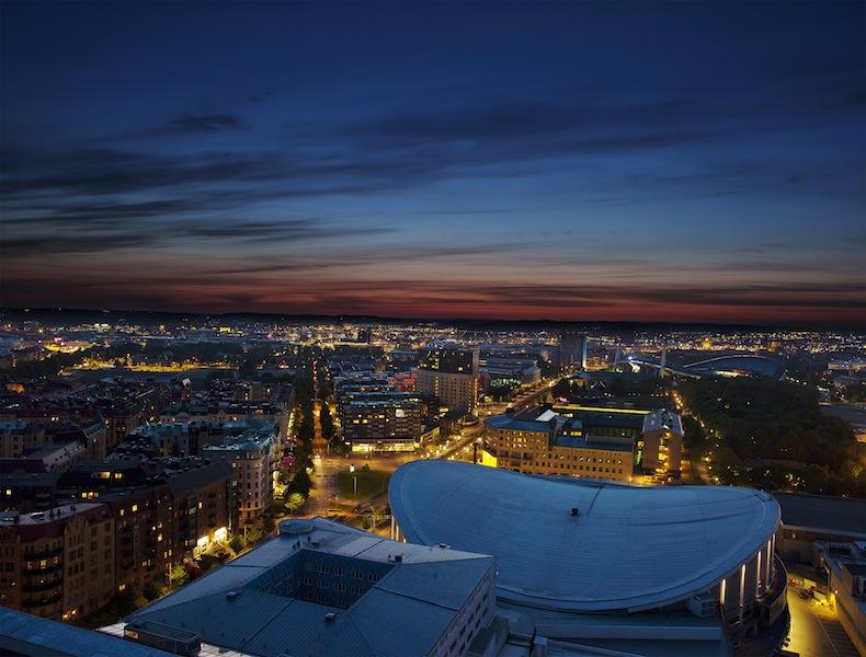 Aussicht auf Göteborg von den Gothia Towers aus