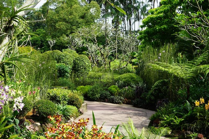 Durch den Orchideengarten ziehen sich Wege mit attraktiv angelegter Bepflanzung, die Besucher zum Verweilen anregen