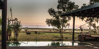 Der Pool auf der erhöhten Bar-Terrasse wirkt, als ob das Wasser bis zu den wilden Tieren geht- / © FrontRowSociety.net, Foto: Georg Berg