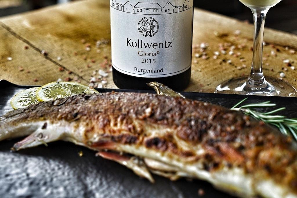 Zum Saibling, als Ganzes im Petromax-Topf gebraten, entschieden wir uns heute für einen 2015 Gloria vom Weingut Kollwentz