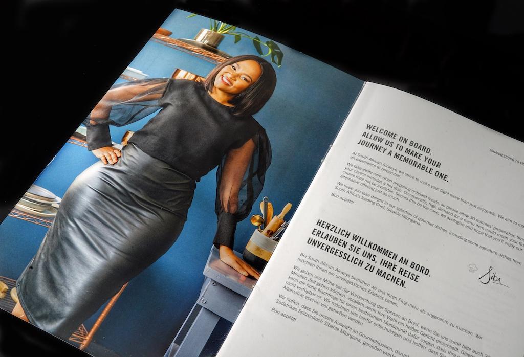 Ebenfalls SAA Sky Chefin: Starköchin Sibahle Mtongana ist aus zahlreichen internationalen Kochshows bekannt - sie will bald ihr eigenes Restaurant eröffnen - wir besuchen Sibahle alsbald