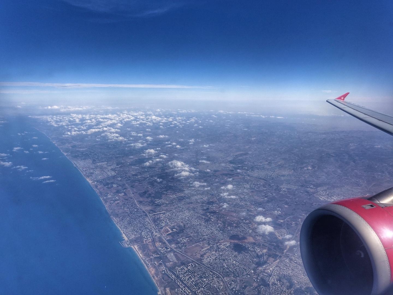 ... und wenige Minuten später waren wir schon über Israel hinweg geflogen am haben das Mittelmeer erreicht
