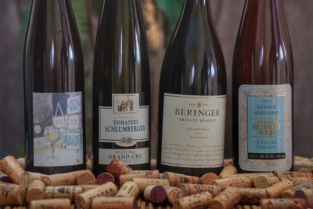 Zu den Siegern im Geschmack - für den heutigen Tag - zählten ein 2011 Rüdesheimer Berg Schlossberg, ein 2011 Kiedrich Gräfenberg, der 2015 Kitterlé Grand Cru Riesling der Domaines Schlumberger und der 2011Chardonnay Private Reserve der Beringer Vineyards