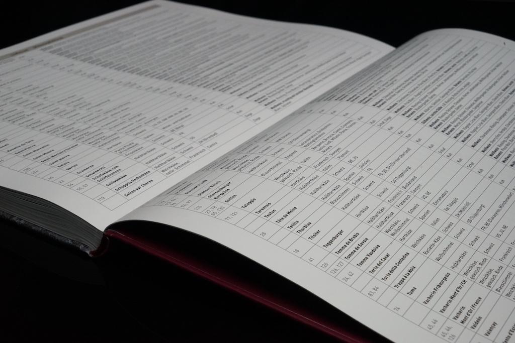 Auf den letzten Seiten: Erkenntnisse der Kombination von Käse und Wein werden tabellarisch aufgeführt