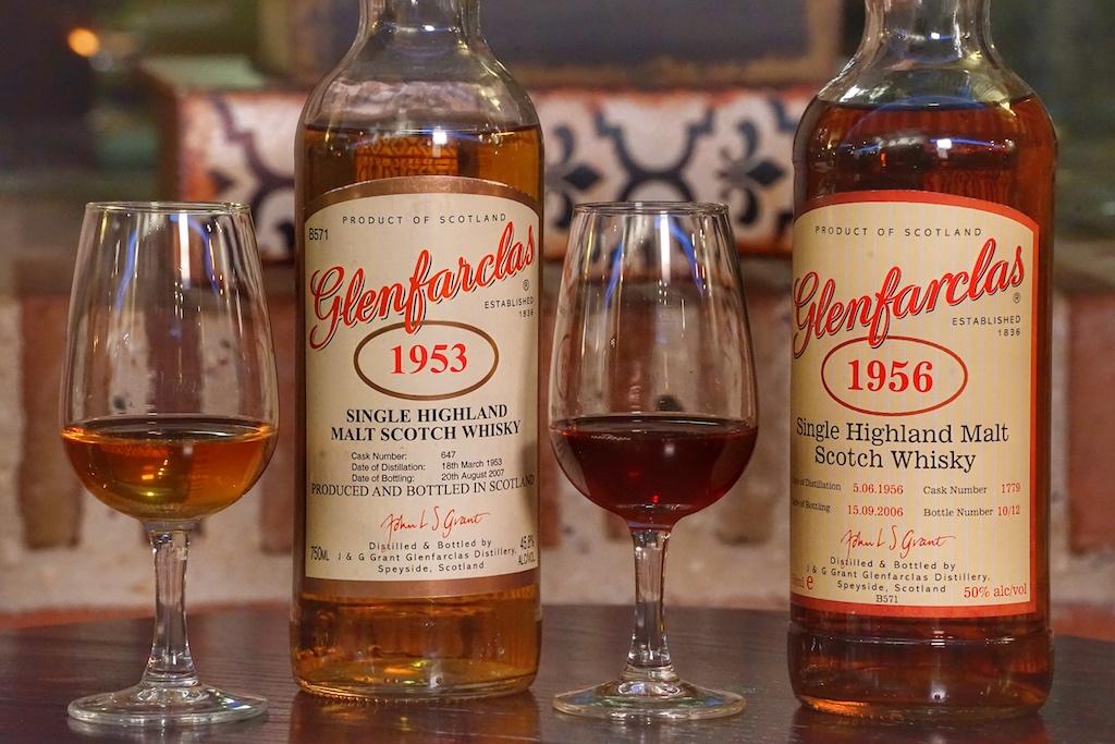 Zu den ausgefallenen Raritäten zählen unter anderem der 1953 und 1956 Glenfarclas