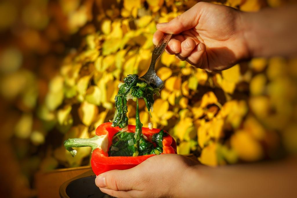Beim Befüllen der Peperoni bzw. Paprika mittig ein wenig Platz fürs Wachtelei lassen
