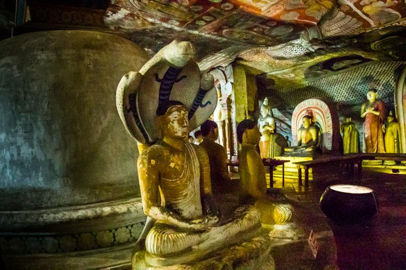 Mehr als 48 Buddha-Statuen gibt es in den Höhlentempeln von Dambulla. Naga Statuen stellen Buddha von einer Königskobra bei der Meditation beschützt dar / © FrontRowSociety.net, Foto: Georg Berg