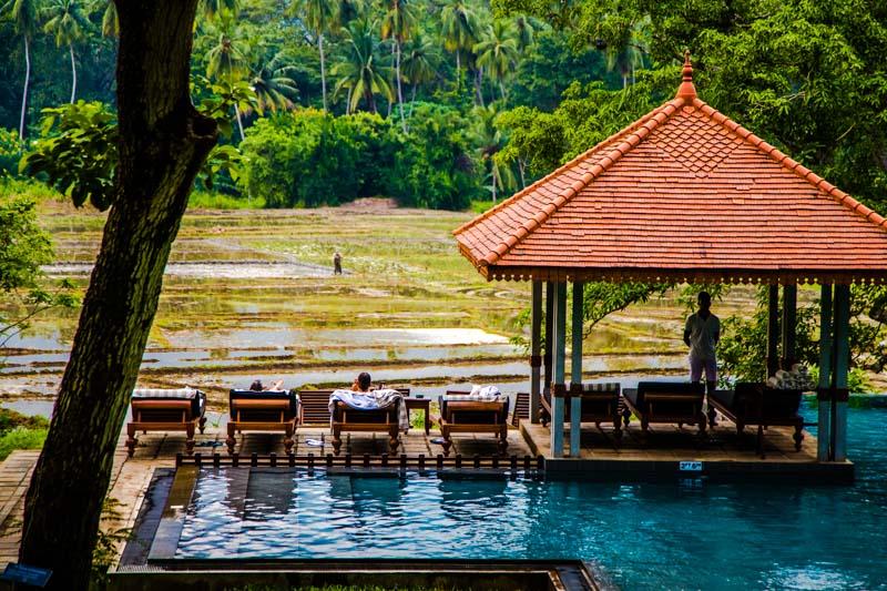 Vom Swimmingpool hat man freien Blick auf die Reisfelder / © FrontRowSociety.net, Foto: Georg Berg