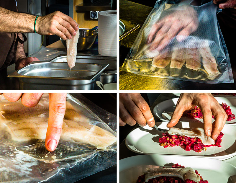 Auch wenn die Schüler-Filets alles andere als formvollendet sind, das Anrichten auf dem Teller wird trotzdem professionell durchgezogen: Forelle Sous Vide / © FrontRowSociety.net, Foto: Georg Berg