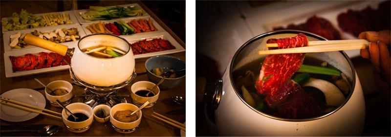 Ja-Panisch trifft Ja-Mecklenburgisch – ein Fondue der besonderen Art kann von den Gästen bestellt werden. Dann treffen japanische Zutaten wie Ponzusoße auf zartestes Rindfleisch aus Mecklenburg. In einer leichten Misobrühe wird das Rindfleisch sowie eine große Auswahl an Gemüse gegart. Zum würzen werden Ponzusoße, Soyasoße und Sesamsoße gereicht. Eine schöne Melange aus asiatischer Leichtigkeit und bodenständigen Zutaten aus der Region / © FrontRowSociety.net, Foto: Georg Berg