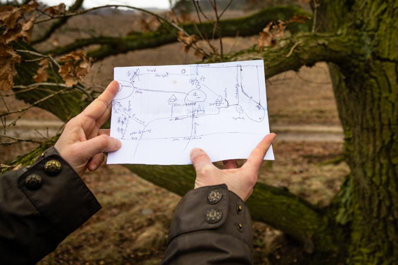 Skizze für einen schönen Wanderweg rund um Fincken am See / © FrontRowSociety.net, Foto: Georg Berg