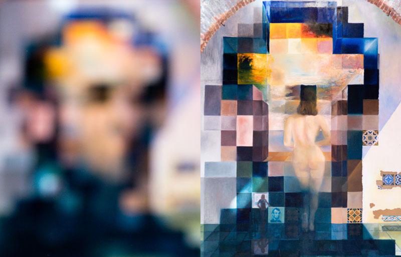 Überaus bestaunenswert sind die Gemälde aus Dalis paranoisch-kritischen Phase, in der er mit dem Verstand nicht fassbare Vorstellungsbilder durch eine hohe künstlerische Präzision realisiert. Auf dem riesigen Wandgemälde im Zentrum des Museums ist es ausgeschlossen, beide Motive gleichzeitig zu sehen. Zuerst, wie auf dem Bild links, erkennt man unscharf das verpixelte Konterfei von Abraham Lincoln. Tritt man weiter zurück, so bekommt man, wie auf dem Bild rechts, die nackte Rückenansicht von Dalis Frau und Muse Gala zu sehen / © FrontRowSociety.net, Foto: Georg Berg