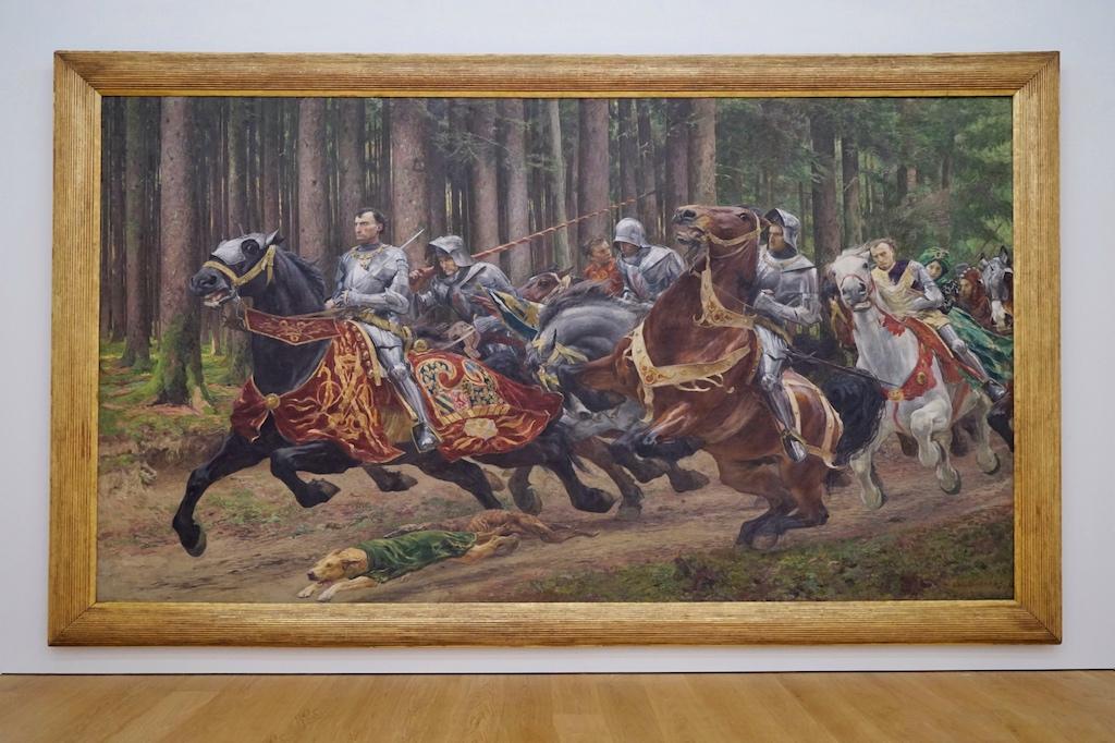 Die Flucht Karl des Kühnen von Eugène Burnand nimmt übergroße Dimensionen im Saal mit dem Thema Geschichte ein