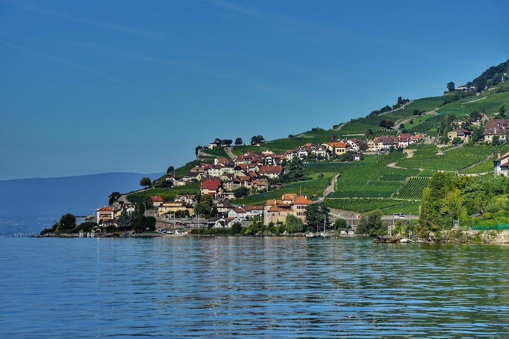 Vom See aus erhält man einen unverbauten Blick auf das Ufer, hier stehen Villen, einfache Bauernhäuser und jede Menge Reben
