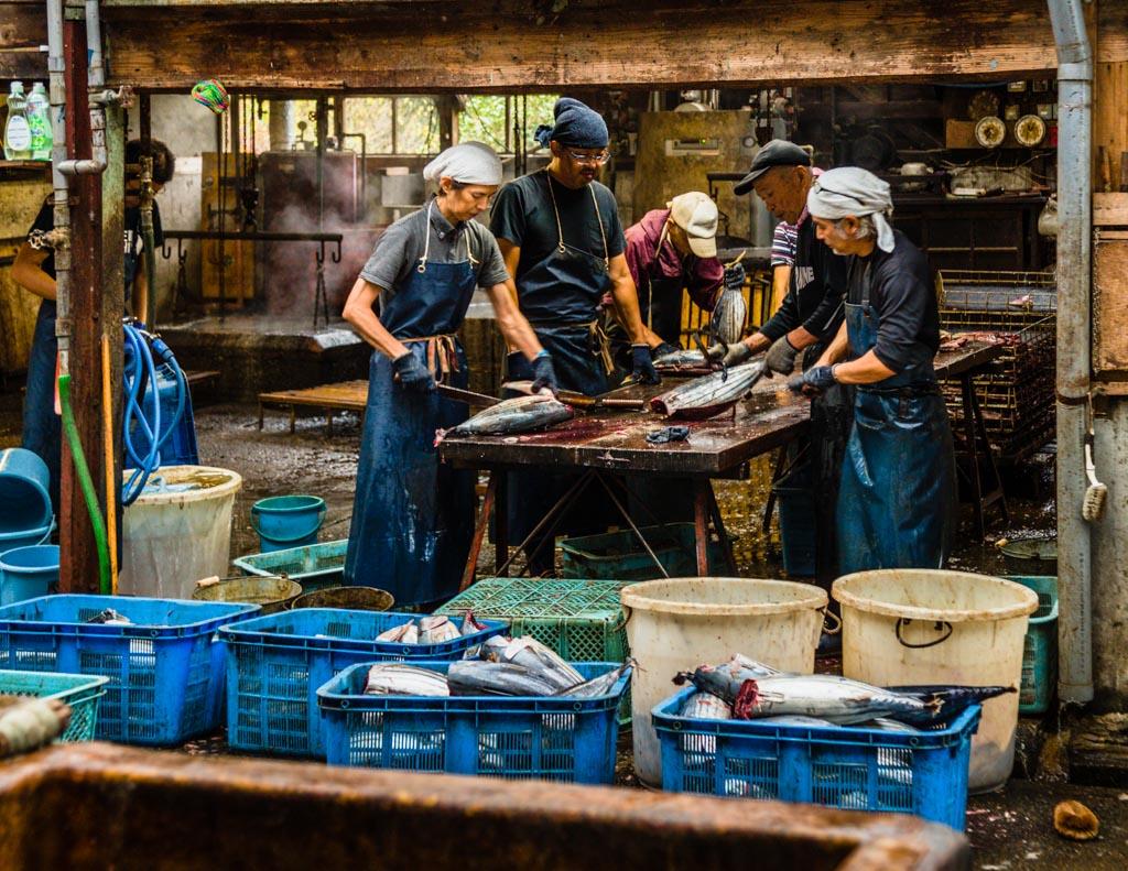 Auf der Zerlegebank werden die Fische halbiert und die Innereien entnommen. Die Hälften bestehen aus je zwei Filets mit den Namen Obushi und Mebushi / © FrontRowSociety.net, Foto: Georg Berg