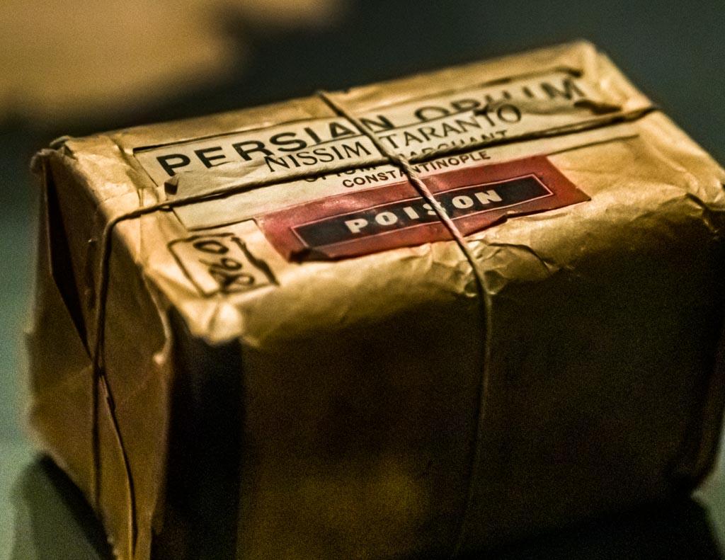 Originalverpackung von persischem Opium, wie Nietzsche es konsumierte / © FrontRowSociety.net, Foto: Georg Berg