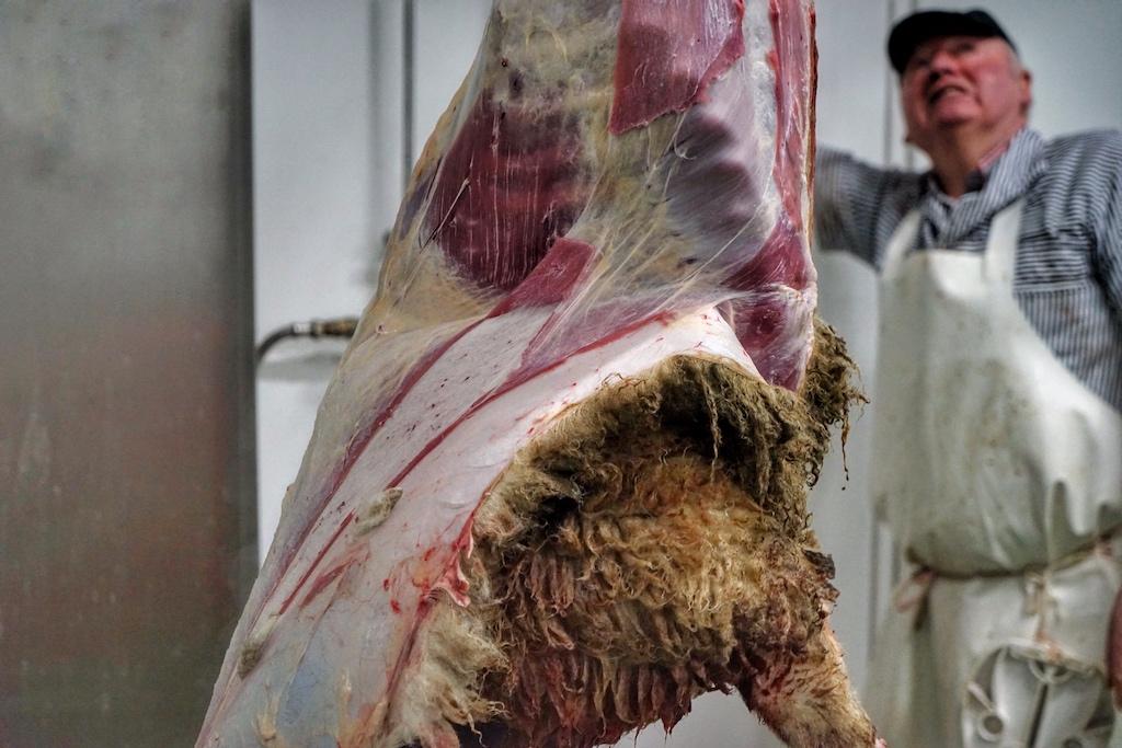 Das gehört auch dazu, Zerlegen der Tiere. Auf dem Hof Keil in Reken werden erhält jedes Tier eine 1 zu 1 Behandlung; ein Tier ein Schlachter. Von der Betäubung, über die Schlachtung bis hin zum Zerlegen