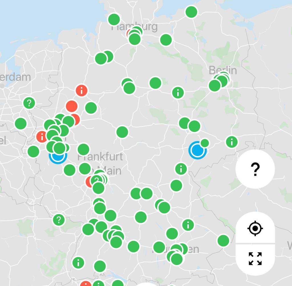 Ausschnitt aus dem H2.Live App - in Deutschland sollen bis 2023 über 400 Wasserstoff-Tankstellen zu finden sein