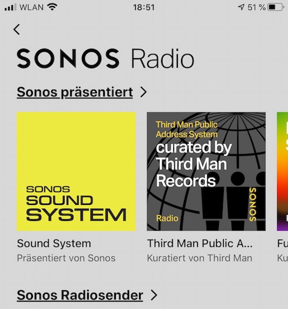 Über die SONOS App kann man auf über 60.000 Sender weltweit zugreifen