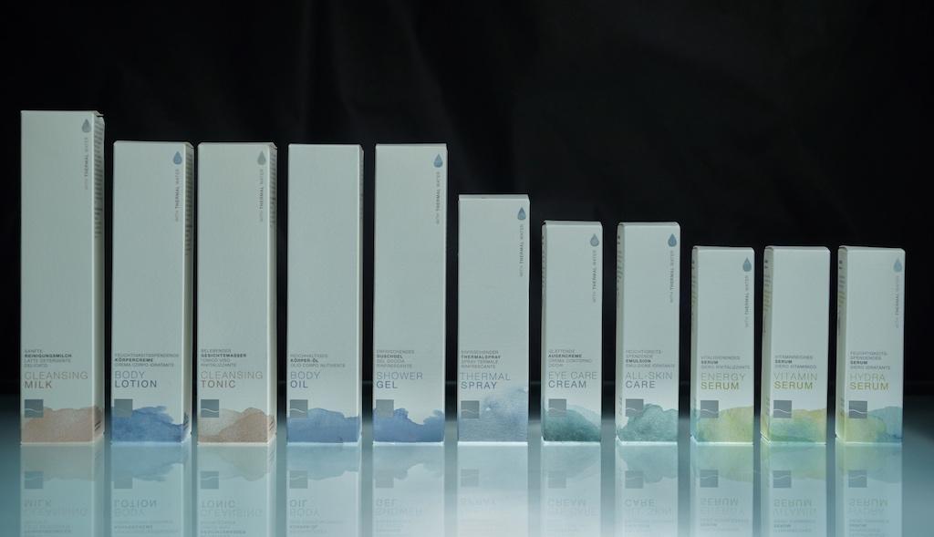 Auf Grundlage des Thermalwassers wurde eine Pflegeserie speziell für Therme Meran mit Südtiroler Ingredienzien entwickelt