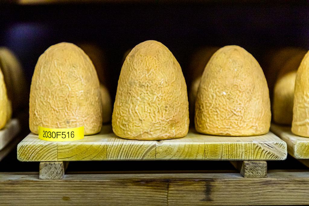 Zincarlin im Felsenkeller. Hier lagern drei Altersstufen. Die Käsekegel werden zwei Monate lang beinahe täglich mit Weisswein abgewaschen / © FrontRowSociety.net, Foto: Georg Berg