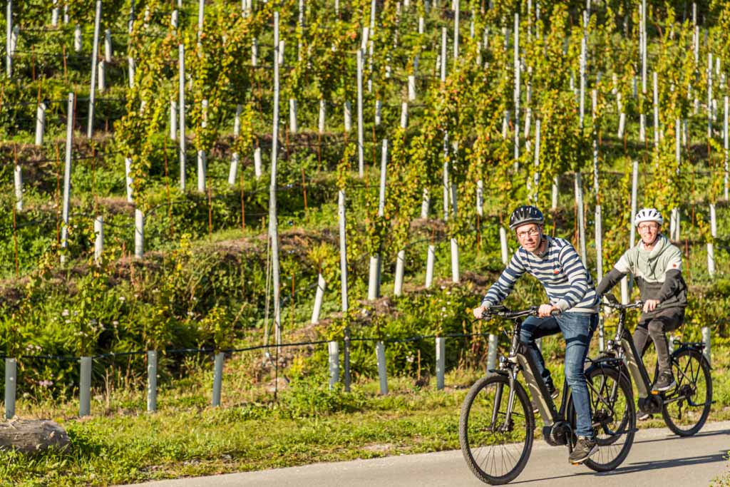 Mit den E-Bikes durch die Weinberge. Les Cellliers de Sion bietet Picknicks und Degustationen an / © FrontRowSociety.net, Foto: Georg Berg