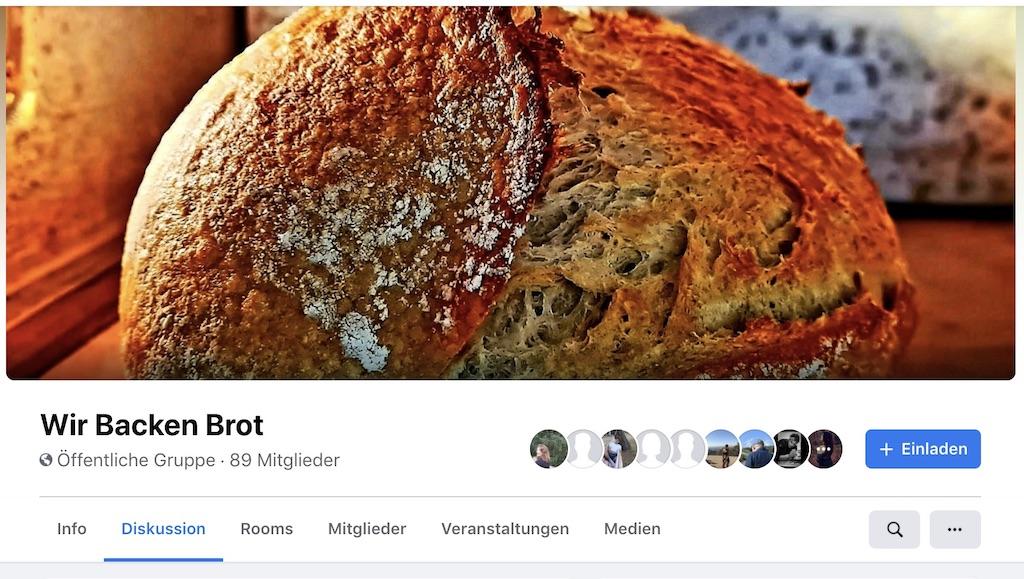 """Screenshot Facebook-Gruppe """"Wir backen Brot"""" initiiert von Florian Brunner"""