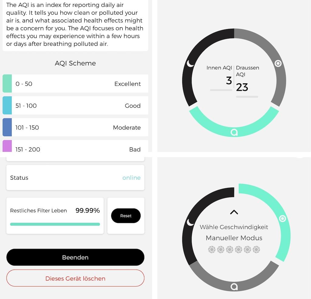 Über die App kann der Luftreiniger gesteuert und die gewünschten Werte abgelesen werden