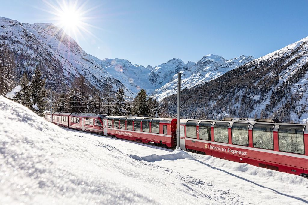 Bernina Express in der Montebellokurve