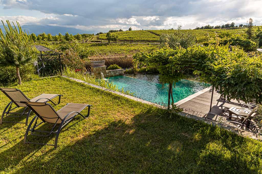 Auf dem Gelände zwischen den sechs Villen, die zum Zornitza Family Estate gehört, wird ein Pool aus der natürlichen Thermalquelle gespeist / © FrontRowSociety.net, Foto: Georg Berg