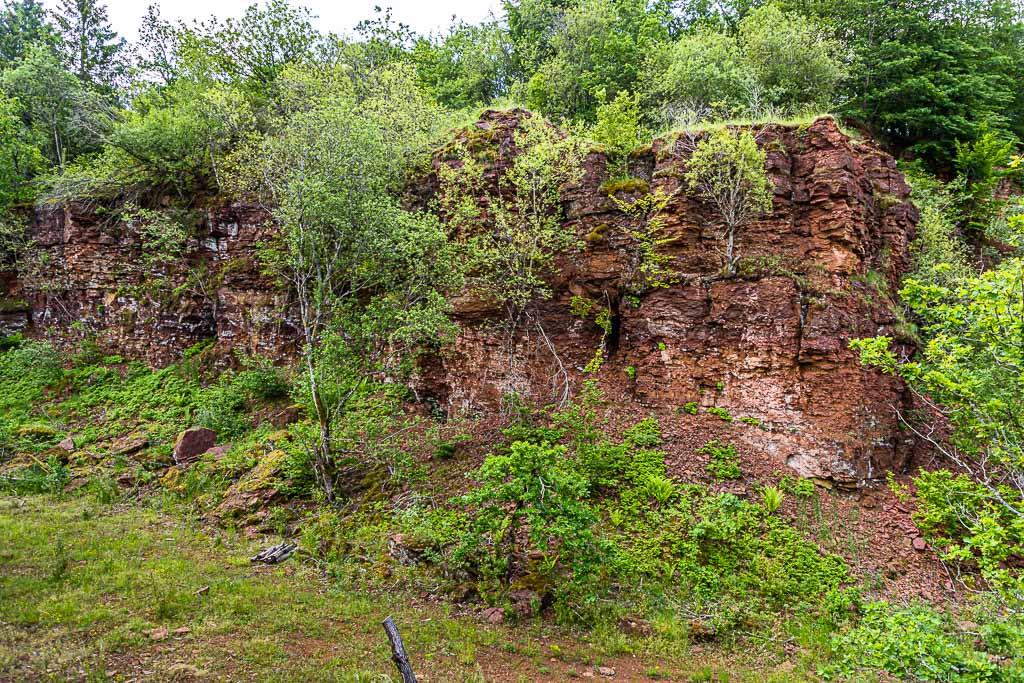 Rote Erde. Entlang des Minetttrails stößt man auch auf alte Abbaustellen für Eisenerz. Mittlerweile wachsen auch auf den Bruchkanten wieder Bäume / © FrontRowSociety.net, Foto: Georg Berg